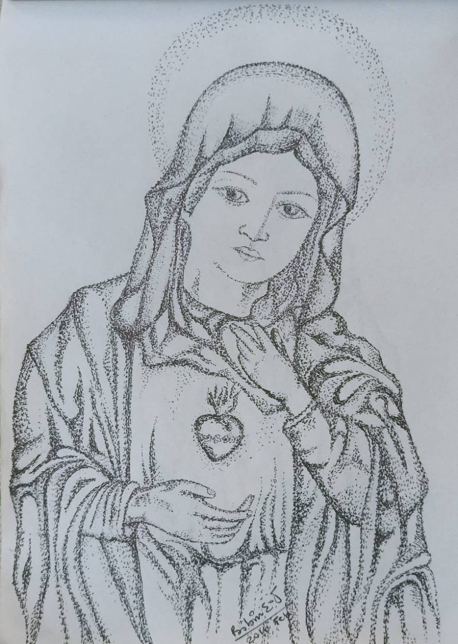 Mother Mary in Drawing