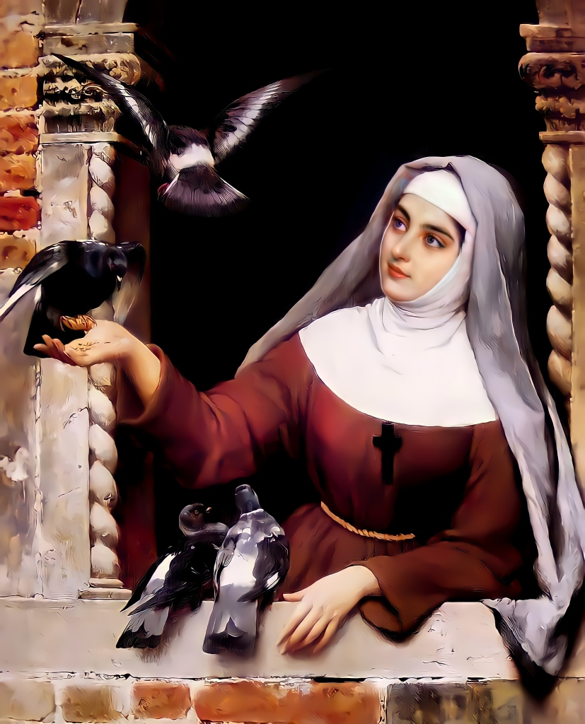 St Clare of Assisi with Doves